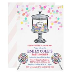 Candy Jar Sweet Baby Shower Invitation Baby Shower Invites For Girl, Baby Shower Themes, Baby Shower Invitations, Shower Ideas, Candy Theme, Candy Jars, Candyland, Christmas Gifts, Sweet