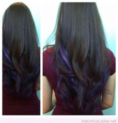 Black and purple hair color combination