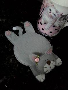 porta copos de gatinha por Flor de Algodão