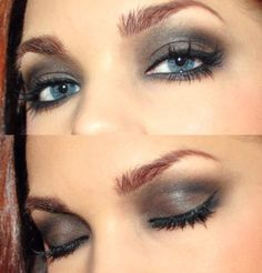 Blue eyes will become brighter when doing a bombshell black or charcoal smoked out eye.  The contrast brings out the color, make it warmer wish a little dark brown in the crease to really make them pop