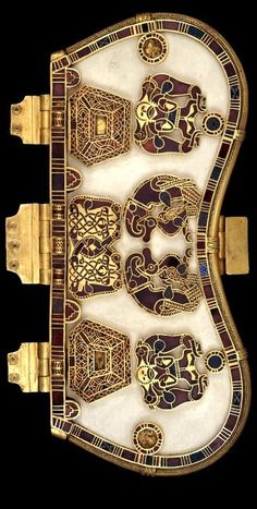 Sutton Hoo Purse -- Centuries -- Bone or ivory base w/ seven decorative plaques worked in gold w/ cloisonne garnets & millefiori glass. The purse held gold coins & ingots.