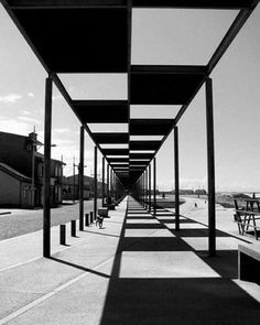 Alaa Salah | Senior Architect | Urban Inspiration: Preto e branco by Claro Oliveira from OBSESSED BY THE GRID depicting a one point perspective from a pergola in Espinho, Portugal shows how creating focus through a symmetry of contrasting patterns, would create a composition of repetitive shapes that add movement and excitement in an intangible physical form. #symmetry #auranarratives #takeover #design #interior #architecture #urbanism #physicalnarratives #portugal ⠀⠀ .⠀⠀⠀⠀⠀⠀ .⠀⠀⠀⠀⠀⠀…
