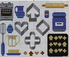 Baking theme pattern / chart for cross stitch, crochet, knitting, knotting, beading, weaving, pixel art, and other crafting projects