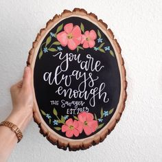 Wood slices add a beautiful rustic feel to any space! Whether it be for your gallery wall at home or a special little piece for your wedding, wooden slices can be the perfect addition!  Each slice is hand-painted with love and sealed with an acrylic sealant to ensure your design will last. Size, shape, and look of the wood does vary slightly - approximate height is 10-12.  Each piece is ready to be hung, with hardware attached.  >> Because this item is MADE TO ORDER, different color schemes…