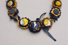 Statement fiber art necklace crochet with fabric por rRradionica