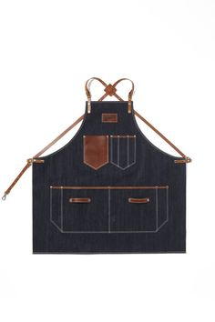 Japanese Selvedge Denim Apron, Selvedge Denim with Horney Brown Leather Strap Apron by KustomDuo 155$
