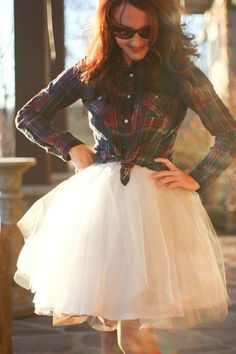 With cowboy boots!! Tulle skirt & plaid button down (pearl snap shirt would be beautiful) 50 Awesome Looks with Tulle Skirt - Sortashion