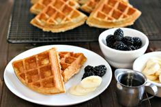 Hot, fresh, and made from scratch with oatmeal and cinnamon, these fresh oatmeal waffles are a great breakfast for the whole family.