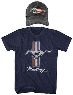 NEW (Set) Ford Mustang 6-Panel Twill Logo Cap And Emblem Navy T-Shirt - XL