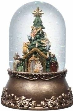 "8"" Exquisite Musical Rotating Nativity glitterdome"