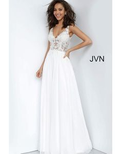 Style from JVN by Jovani is a Sheer Embroidered Bodice Prom gown with an illusion waistline. Bride Reception Dresses, Boho Wedding Dress, Wedding Dresses, Bridesmaid Dresses, Prom Dresses Jovani, Pageant Dresses, Formal Dresses, Formal Prom, Formal Wear
