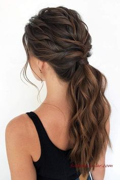 Cute Ponytail Hairstyles, Cute Ponytails, Hairstyles Haircuts, Gorgeous Hairstyles, Hairstyle Ideas, Style Hairstyle, Bangs Hairstyle, Low Pony Hairstyles, Simple Ponytails