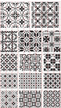 There are many other motifs on this page. I liked these small fill patterns.  http://qtp.hu/xszemes/regi_keresztszemes_mintak/122-135-2.png