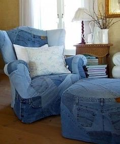 I'm not sure I like this, but it would certainly be a long lasting and sturdy alternative to many upholstery fabrics on the market these days, and easily patched too!