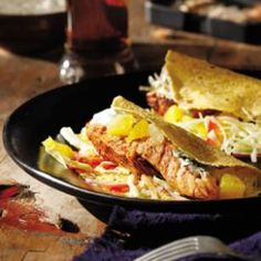 Grilled Salmon Soft Tacos with Citrus Salsa, Cilantro Crema & Cabbage Slaw!  YES PLEASE!!!
