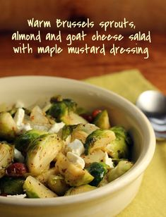 Warm Brussels sprouts, almond and goat cheese salad with maple mustard dressing {vegetarian, gluten-free} [ThePerfectPantry.com]
