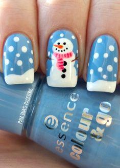Cute snowy snowman nails