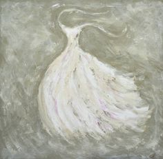 "Buy ""Swept Away"", a Oil on Wood by ZsaZsa Bellagio from United States. It portrays: Fashion, relevant to: romantic, wedding, white, dress, elegant, fashion, gown A romantic, white, sparkling gown, blowing in the breeze.  In this particular oil painting, diamond dust, which is made from tiny pieces of glass, are entwined into  the gown to give it that romantic sparkle."