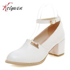 (64.88$)  Buy here - http://ai15j.worlditems.win/all/product.php?id=32791728733 - Plus size 33-43 Pumps Brand Designer Metal decoration high Heel Shoes ankle-Strap female Pumps Women Ladies office work shoes