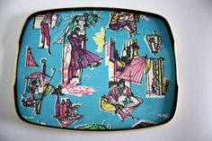 Vintage Ricolor tray with lovely Paris cafe scenes