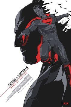 Batman v Superman - Dawn of Justice (Alternative Movie Poster) by Amien Juugo Dc Movies, Comic Movies, Comic Book Characters, Comic Books Art, Comic Art, Hq Marvel, Marvel Dc Comics, Im Batman, Batman Art