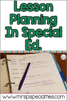 Lesson planning in a special education classroom can be challenging. Meeting the needs of multiple grades, skills and needs don't fit neatly into forms. Here is an easy lesson planning system to try out. classroom Lesson Planning in Special Education Teacher Planning Binder, Teacher Binder, Down Syndrom, Special Ed Teacher, Teaching Special Education, Special Education Forms, Special Education Schedule, Self Contained Classroom, Learning Support
