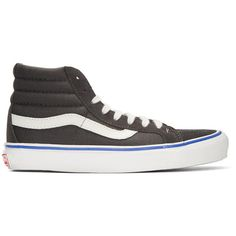 Vans Grey Suede OG Sk8-Hi LX Sneakers (240 BRL) ❤ liked on Polyvore featuring men's fashion, men's shoes, men's sneakers, grey, mens gray dress shoes, mens canvas sneakers, mens grey suede shoes, mens high top sneakers and mens suede lace up shoes