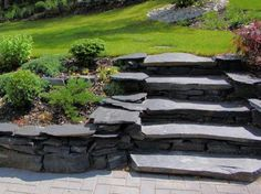 Wish someone would come build these in my backyard! Amazing Gardens, Beautiful Gardens, Garden Works, Outdoor Steps, Outdoor Garden Furniture, Home Landscaping, Garden Stones, Shade Garden, Garden Planning