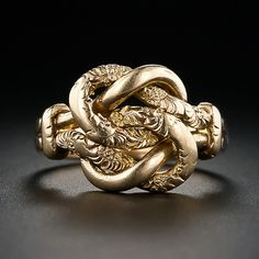 victorian era hand engraved double love knot ring in 18 karat yellow gold from 19th century england $795