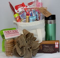 Welcome gift basket for the out-of-town hotel guests! Guest Welcome Baskets, Welcome Gift Basket, Wedding Welcome Baskets, Guest Basket, Welcome Gifts, Wedding Table Games, Wedding Reception Backdrop, Diy Wedding, Wedding Gifts