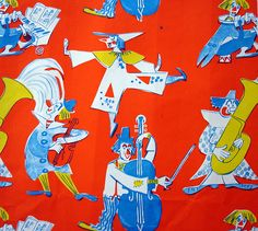 vintage wrapping paper - musical clowns by blempgorf, via Flickr
