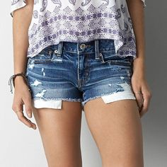 American Eagle Destroyed Denim Shorts ($30) ❤ liked on Polyvore