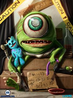 Mike Wazowski of Monsters, Inc. Illustrated as a Blind & Devastated Vagabond by Dan LuVisi