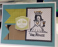 Wine Princess card on Etsy, $4.57 CAD Best Friends, Unique Jewelry, Handmade Gifts, Wine, Princess, Cards, Etsy, Vintage, Beat Friends