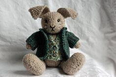 Knitted bunny rabbit toy with sweater and vest by WestcoastAttic, $55.00