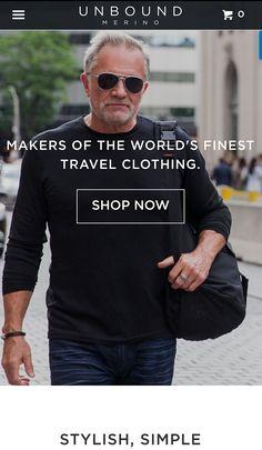 Carolyn's model Allan Harris featured on Unbound Merino website. Packing Light, Male Models, Merino Wool, Shop Now, Underwear, Handsome, Website, Stylish, T Shirt