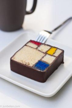 Mondrian Cake with Blue Bottle Coffee   Flickr - Photo Sharing!