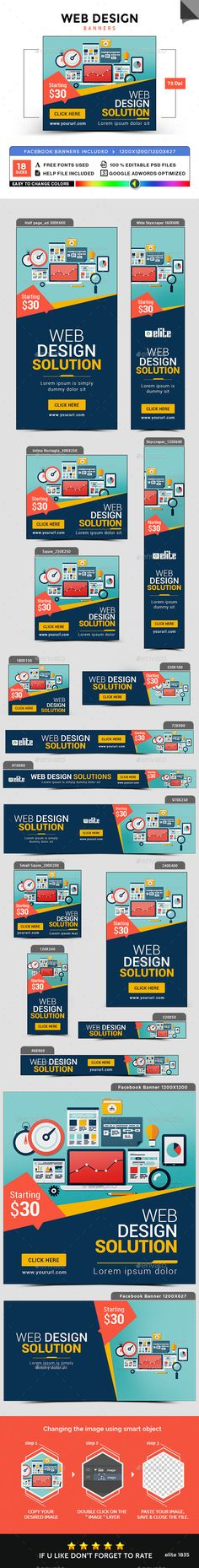 Web Design Banners — Photoshop PSD #promotions #sales • Available here → https://graphicriver.net/item/web-design-banners/18046553?ref=pxcr