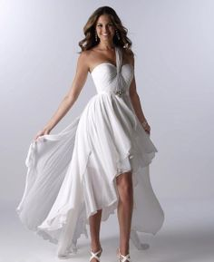 Yes!!!  White Beach Wedding Dress High Low One Shoulder by YourWeddingMall, $159.00