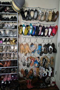This womans' shoe collection. dear lord.  Also, cleaver way to store them...