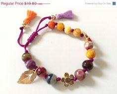 Gemstone Boho Bracelet purple beaded bracelet hippie by Sifrimania