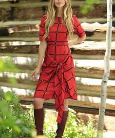 Look at this Shabby Apple Orange Plaid Geometric Tie-Front Boatneck Dress - Women on #zulily today!