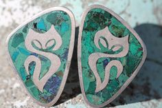 MEXICAN TAXCO ENRIQUE LEDESMA STERLING SILVER AZURITE MALACHITE CAT EARRINGS