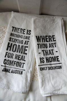 <3   Flour Sack Tea Towels - Home Quotes (set of 2). $18.00, via Etsy.