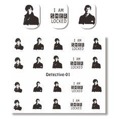 $2.34 1 Sheet Detective Sherlock Water Decal Manicure Nail Art Transfer Sticker - BornPrettyStore.com