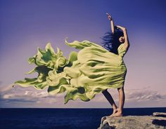 Flowing green dress. Love the motion of the fabric