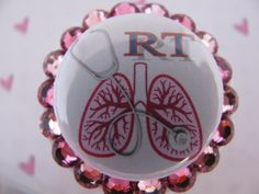 Respiratory Therapy ID Badge Holder Retractable Reel Name Tag Holder using Swarovski Elements by sparklinghope on Etsy https://www.etsy.com/listing/78146104/respiratory-therapy-id-badge-holder