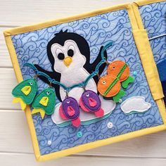 Quiet Book for Renatka with penguins 21x21cm totally