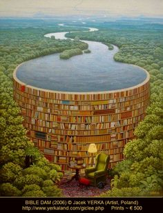 "BIBLE DAM (2006) © Jacek YERKA (Artist, Poland). Giclée Prints ~ € 500 ... Surreal Art. I totally don't get the title though I love the painting. - pfb ... ""Copyright LAW requires an artist to be credited."" per wiki. COPYRIGHT LAW REQUIREMENTS: http://pinterest.com/pin/86975836525792650/  HOW TO FIND the ORIGINAL WEB SITE of an image: http://pinterest.com/pin/86975836525507659/"