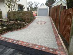 dark grey driveway with red brick edging Tarmac Driveways, Brick Edging, Red Bricks, Dark Grey, New Homes, Sidewalk, Image, Ideas, New Home Essentials